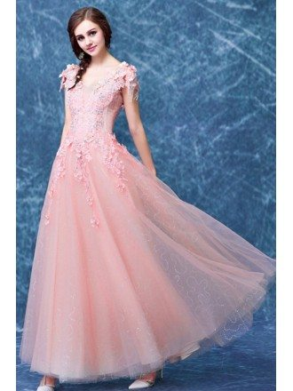 Pink A-line V-neck Floor-length Tulle Wedding Dress With Appliques Lace