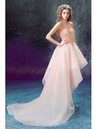 Pink Ball-gown Sweetheart High Low Prom Dress With Flowers