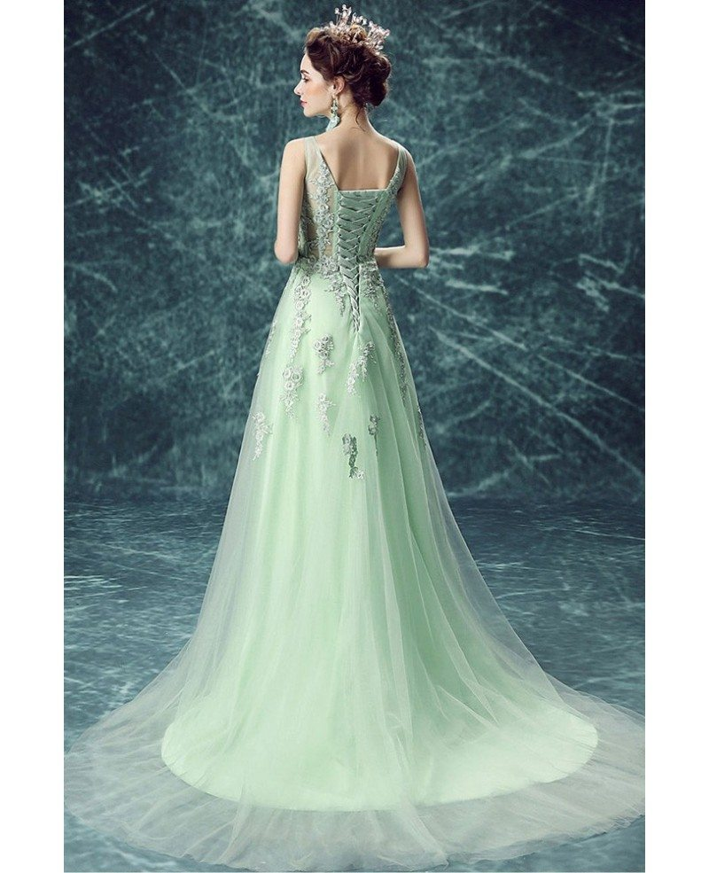 All Lace Wedding Dress: Green A-line Scoop Neck Floor-length Tulle Wedding Dress