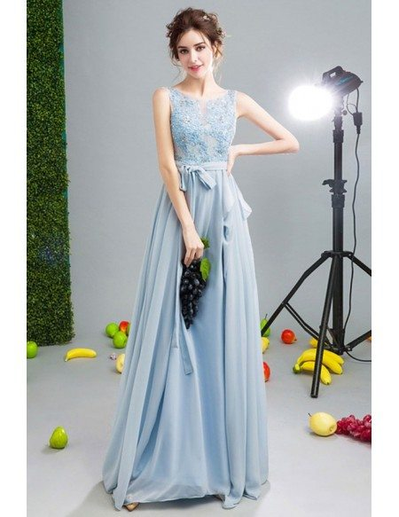 Blue A-line Scoop Neck Floor-length Chiffon Formal Dress With Appliques Lace
