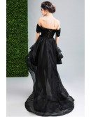 Black Ball-gown Off-the-shoulder High Low Organza Formal Dress With Lace
