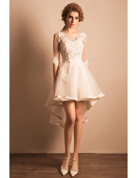 Beautiful A-line V-neck High Low Tulle Wedding Dress With Appliques Lace