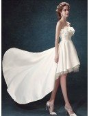 Simple A-line Strapless High Low Satin Wedding Dress With Flowers