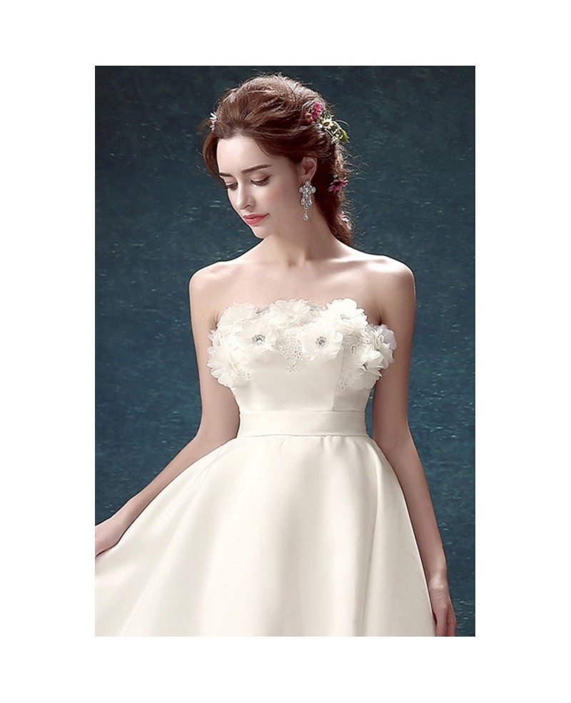 Low Cost Wedding Flowers: 2017 Strapless High Low Wedding Dresses With Train Simple