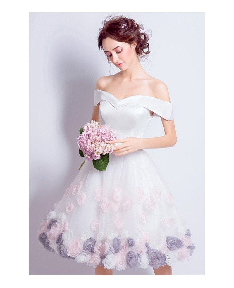Off The Shoulder Fun Short Wedding Dresses With Flowers Lovely A