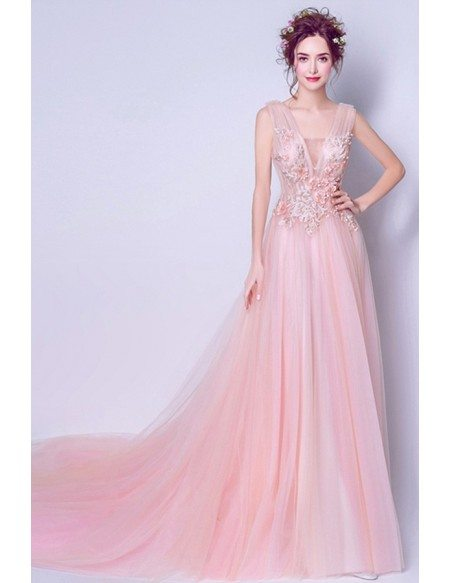 Romantic A-line V-neck Court Train Tulle Wedding Dress With Beading