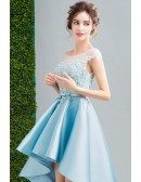 Blue Ball-gown Scoop Neck High Low Satin Formal Dress With Appliques Lace