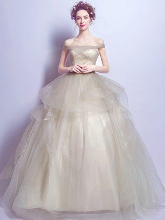 Champagne Ball-gown Off-the-shoulder Floor-length Tulle Wedding Dress