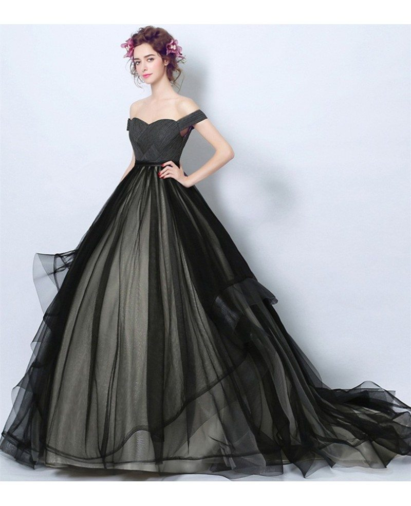 Black Ball-gown Off-the-shoulder Court Train Tulle Wedding