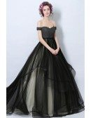 Black Ball-gown Off-the-shoulder Court Train Tulle Wedding Dress