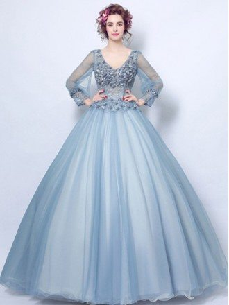 Dusty Blue Ball-gown V-neck Floor-length Tulle Wedding Dress With Long Sleeves