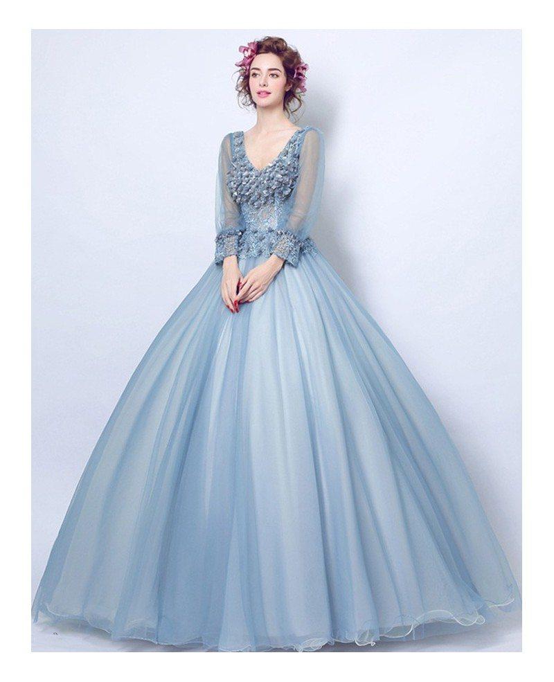 Dusty Blue Ball-gown V-neck Floor-length Tulle Wedding