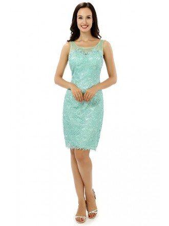 Sheath Scoop Knee-length Prom Dress