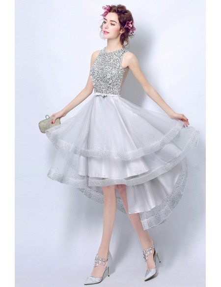 Elegant A-line High Neck High Low Tulle Formal Dress With Sequins