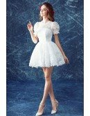 Cute Ball-gown High Neck Short Lace Wedding Dress With Short Sleeves