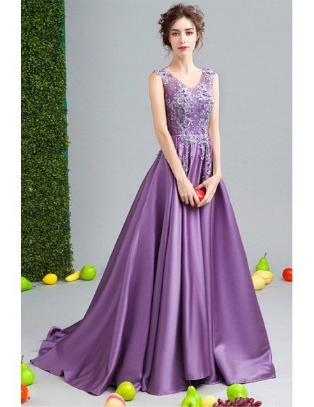 Luxurious Ball-gown V-neck Court Train Satin Wedding Dress With Beading