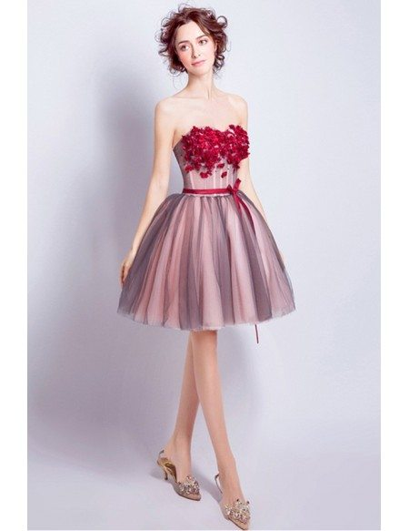 Red Ball-gown Sweetheart Short Tulle Formal Dress With Flowers