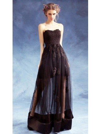 Sexy A-line Sweetheart Floor-length Tulle Formal Dress With Lace
