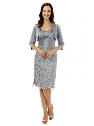 Sheath Sweetheart Knee-length the Mother of the Dride Dress with Jacket
