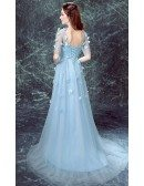 Blue A-line Scoop Neck Sweep Train Tulle Wedding Dress With Sleeves
