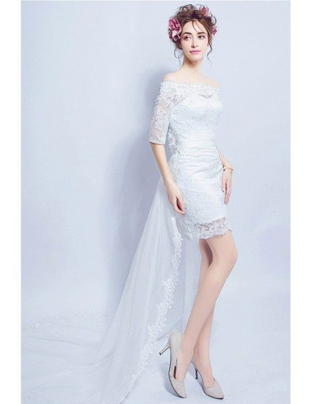 Sexy Sheath Off-the-shoulder High Low Lace Wedding Dress With Sleeves