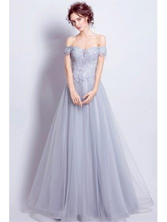 Grey A-line Off-the-shoulder Floor-length Tulle Wedding Dress With Appliques Lace