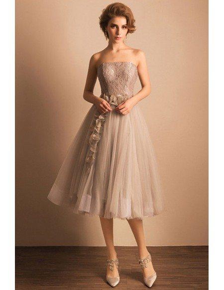 Retro Tea Length Wedding Dresses Tulle