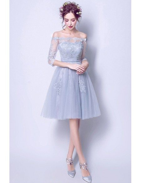 Grey A-line Off-the-shoulder Knee-length Tulle Wedding Dress With Appliques Lace
