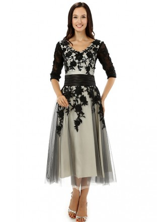 A-line V-neck Tea-length the Mother of the Prom Dress with Lace