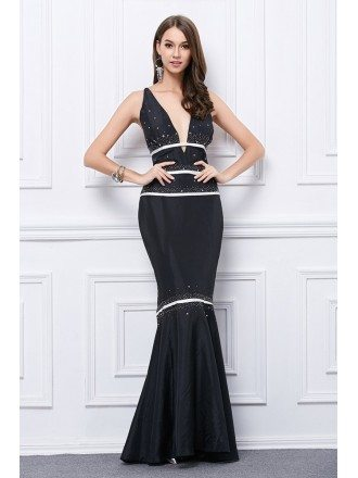 Sexy Mermaid Deep V-neck Satin Long Open Back Evening Dress With Sequins