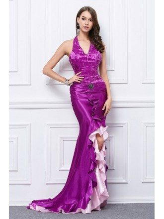 Sexy Mermaid Halter Satin Sweep Train Prom Dress With Split Beading