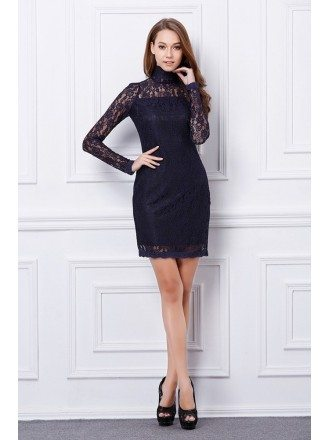 Chic High Neck Black Lace Mini Weeding Guest Dress With Long Sleeves