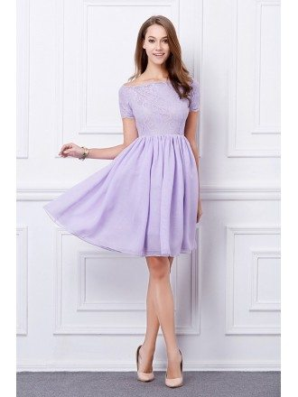 Feminine A-Line Lace Short Homecoming Dress With Sleeves