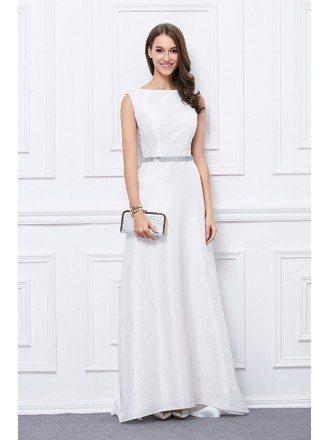 Elegant A-Line Polyster Floor-Length Eveing Dress With Sequins