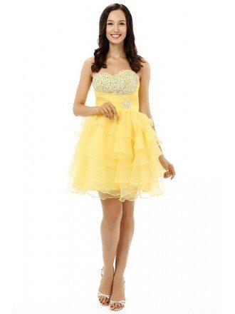 A-line Sweetheart  Knee-length Prom Dress with Ruffle