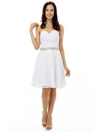 White A-line Sweetheart  Knee-length Prom Dress