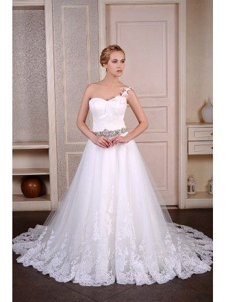 Ball-Gown One Shoulder Chaple Train Tulle Wedding Dress With Beading Appliquer Lace