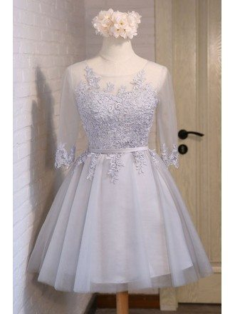 Lovely A-line Scoop Neck Short Tulle Homecoming Dress With Appliques Lace