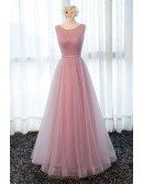 Romantic A-line Scoop Neck Floor-length Tulle Prom Dress With Beading