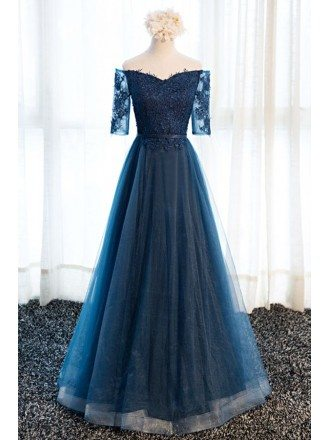 Glamour A-line Off-the-shoulder Floor-length Tulle Prom Dress With Appliques Lace