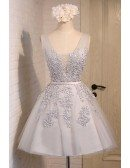 Dusty Ball-gown V-neck Short Homecoming Dress With Appliques Lace