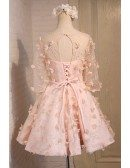 Champagne A-line Scoop Neck Short Tulle Homecoming Dress With Flowers