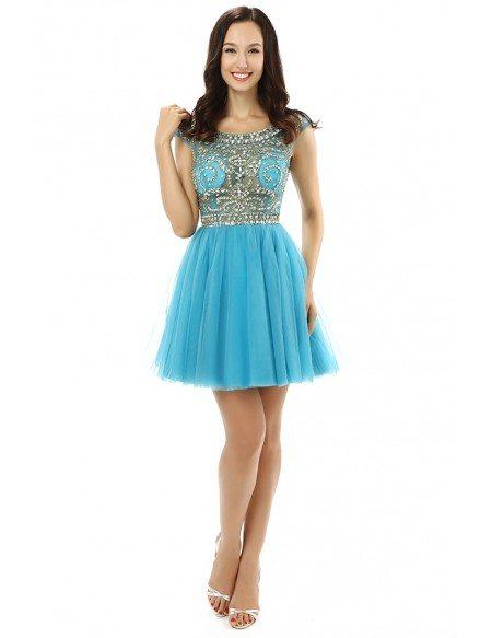 A-line Scoop Cap-sleeves Mini Prom Dress