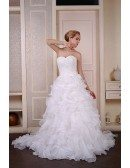 Ball-Gown Sweetheart Court Train Organza Wedding Dress With Appliquer Lace Cascading Ruffles