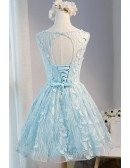 Special Ball-gown Scoop Neck Short Tulle Homecoming Dress With Flowers