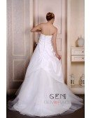 Ball-Gown Strapless Sweep Train Satin Tulle Wedding Dress With Flowers Pleated