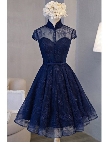 Retro A-line High Neck Knee-length Homecoming Dress With Lace