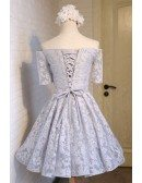 Elegant A-line Off-the-shoulder Short Tulle Homecoming Dress With Lace