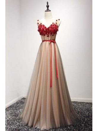 Special A-line V-neck Floor-length Tulle Prom Dress With Appliques Lace