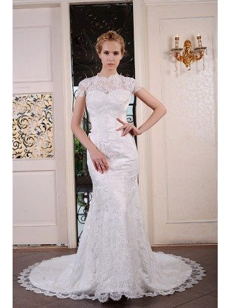 Mermaid Scoop Neck Court Train Lace Wedding Dress With Beading